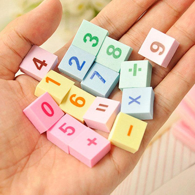 Купить с кэшбэком 1pcs /cute creative digital + letter rubber eraser kawaii school supplies papelaria  child Learning stationery Materiale