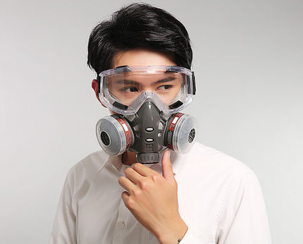 Respirator Masks Chemical Mask With Goggle Industrial Dust Activated Carbon Anti-fog Haze Pm2.5 Pesticides Painting Spraying