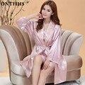 2 ШТ. Сексуальная Одеяние и Спагетти Ремень Платье Женщины Шелковый Атлас Пижамы Устанавливает Пижамы Пижамы Набор Пижамы S2