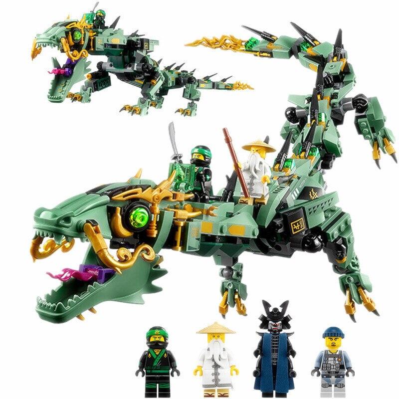 592Pcs Diy Lloyd Green Ninja Mech Dragon Flying Movies Building Blocks Bricks Toys For Boys Compatible