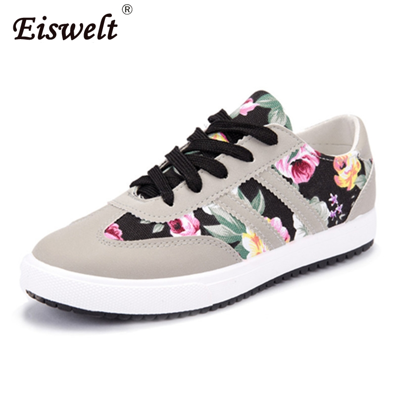 все цены на EISWELT Women Casual Shoes Printed Casual Shoes Women Canvas Shoes New Arrival Fashion Women Sneakers Spring Flat with Autumn
