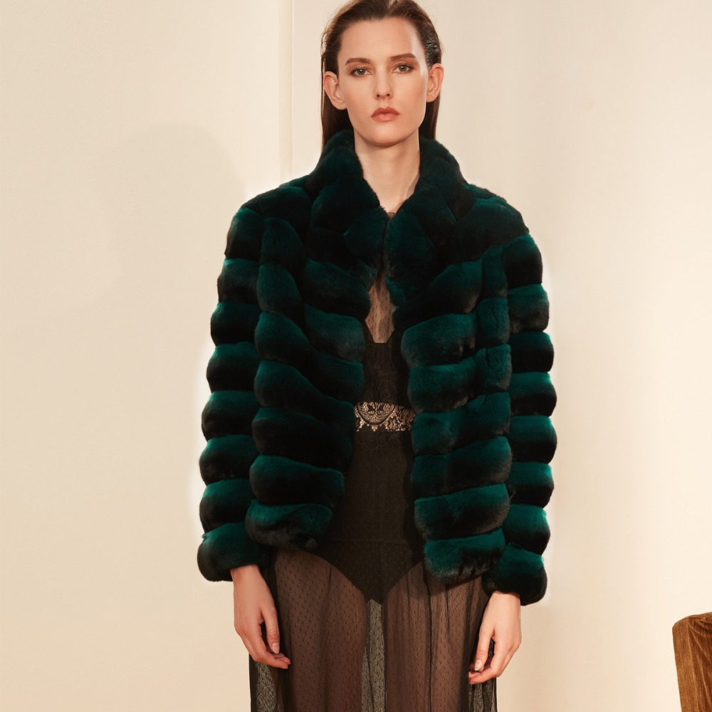 Arlenesain custom women short deep green chinchilla fur coat.751
