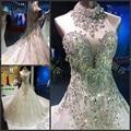 Elegant 2017 Design Luxuries Cathedral Tail Wedding Dresses Ball Halter Rhinestone Crystal Vestido De Noiva women Wedding Gown
