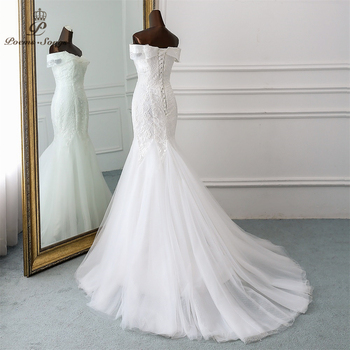 PoemsSongs  2019 new style Boat Neck beautiful sequined lace wedding dress for wedding Vestido de noiva Mermaid wedding dresses 4