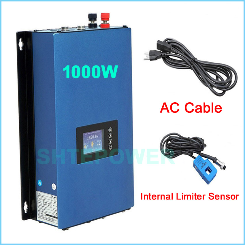 1000W solar power inverter grid tie system inter limiter 1KW DC 22-65V input to AC 110V 220V auto invertor battery discharge 1kw grid tie solar module power dc to ac inverter