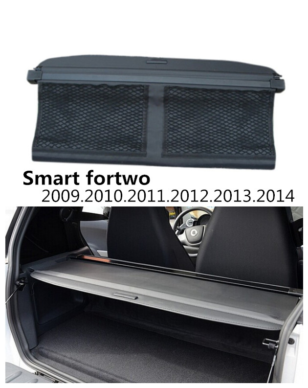 Car Rear Trunk Security Shield Cargo Cover For Smart fortwo 2009.2010.2011.2012.2013.2014 High Qualit Trunk Shade Security Cover car rear trunk security shield cargo cover for ford everest 2015 2016 2017 high qualit black beige auto accessories