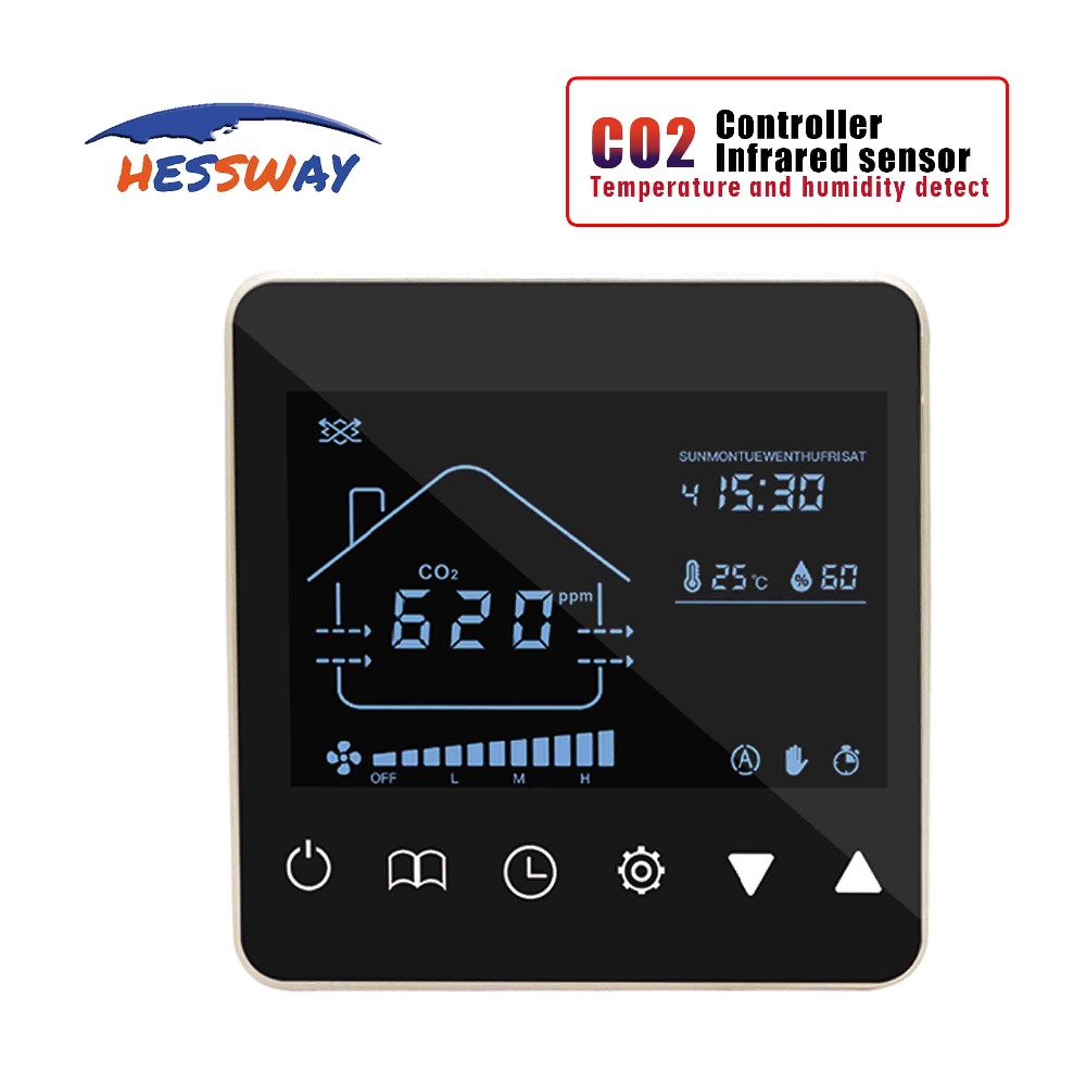 Ventilation System Nather NDIR gas analyzer infrared co2 sensor monitor detector adjustment Output for Control 3 speed