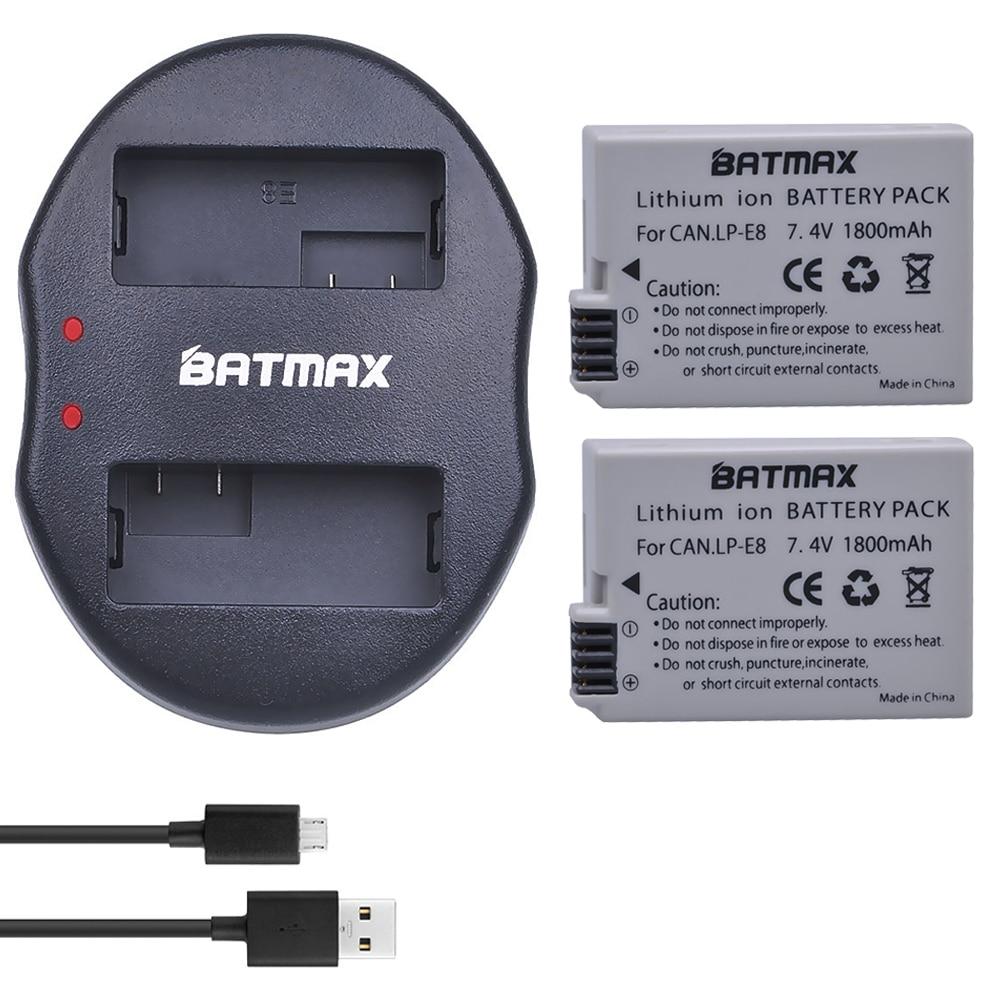 Lcd Dual Ladegerät Für Canon Eos 550d 600d 650d 700d X4 X5 X6i X7i T2i T3i 2 Pcs 1800 Mah Lp-e8 Lpe8 Lp E8 Batterie Batterie Akku Unterhaltungselektronik