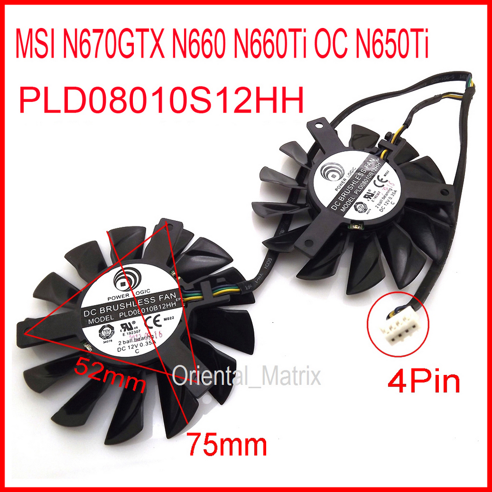 Free Shipping 2pcs/lot POWER LOGIC PLD08010S12HH 12V 0.35A 75mm For MSI N660Ti OC N650Ti N670GTX N660 Hawk Cooling Fan 4Pin