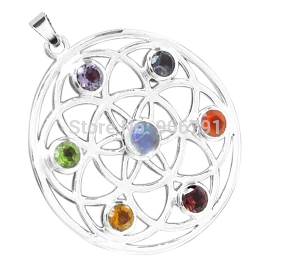 Best Selling Wholesale 50pcs lot Alloy Metal 7 Color Crystal Chakra Reiki Pendants Religious Jewelry