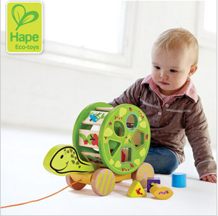 Hape Turtle Pull Toys Toddler Car Building Blocks Male Child Baby Boy Birthday Gift 1