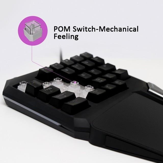 Programmable Keys Delux T9 Pro Single Handed Game keyboard one hand Ergonomic Gaming Keypad For PUBG gun PC Laptop 3