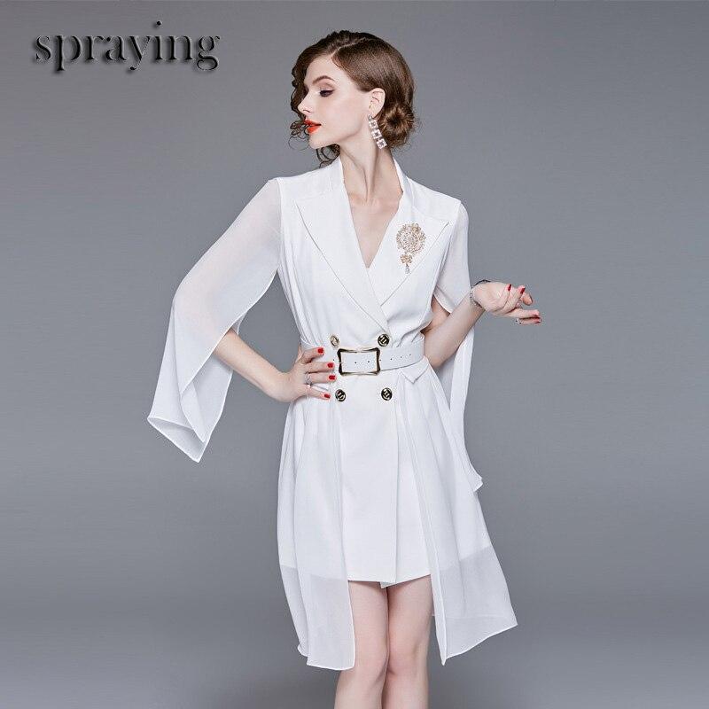 High Quality Boutique women dress Belt brooch summer lady elegant Dress long Voile sleeve A line