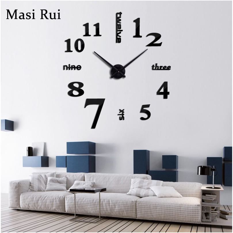 2019 new arrival  3d real big wall clock Quartz fashion wall watch stickers rushed mirror diy clocks living room free shipping