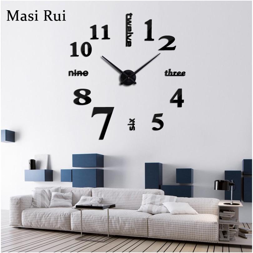 2019 New Arrival  3d Real Big Wall Clock Quartz Fashion Wall Watch Stickers Rushed Mirror Diy Clocks Living Room Free Shipping