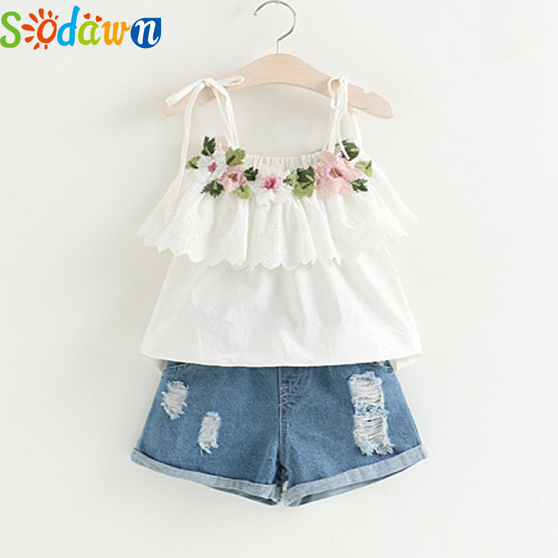 Sodawn Fashion Girls Clothing Set 2018 Summer Baby Girls Suit White Jacket Flower Decoration+Denim Shorts Children Clothing children s clothing spring high quality cowboy three piece suit of the girls flowers fashion baby suit denim set for infants
