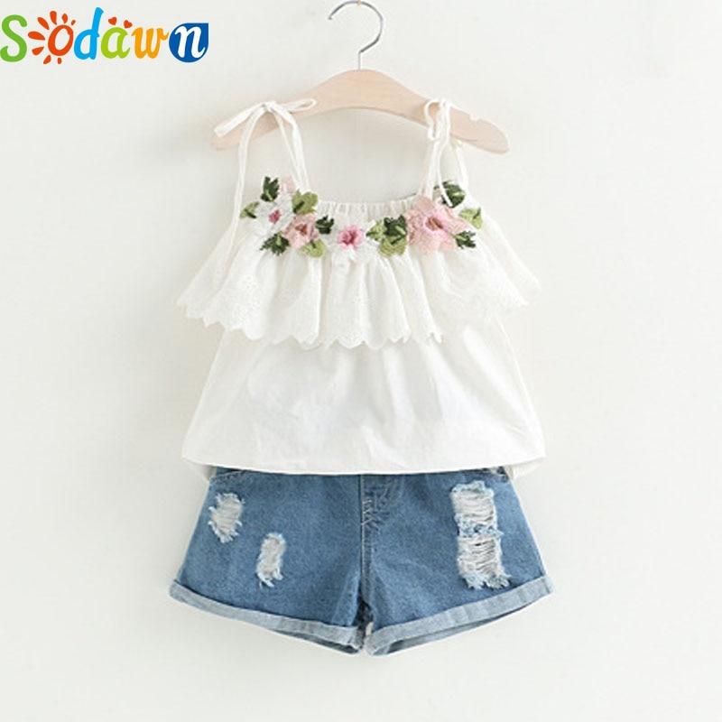 Sodawn Fashion Girls Clothing Set 2018 Summer Baby Girls Suit White Jacket Flower Decoration+Denim Shorts Children Clothing