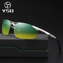 YSO Sunglasses Men Polarized UV400 Aluminium Magnesium Frame HD Night Vision Driving Glasses Semi Rimless Accessory For Men 8179