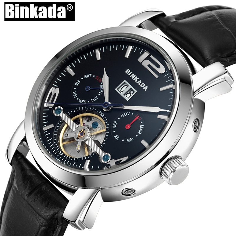 Top Luxury Brand BINKADA Automatic Waterproof Men Watches Tourbillon Analog Mens Mechanical Watch Skeleton Sport Business Watch tevise men black stainless steel automatic mechanical watch luminous analog mens skeleton watches top brand luxury 9008g