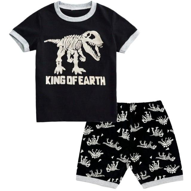 92ab07bb1ac53 BINIDUCKLING D été Bébé Garçons vêtements de Nuit Ensembles de Pyjama 100%  Coton Dinosaure