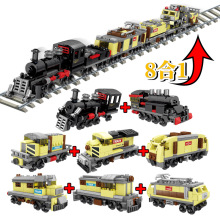8in1 Urban Track Rail Deformation Train Model Building Blocks City Trains Sets 72 Models Toys for Children free delivery factory price children s educational three small trains toys wooden blocks trains kids models building toy