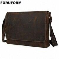 Фирменная Новинка Crazy Horse Пояса из натуральной кожи Для мужчин Классические Портфели сумка деловая 14 15.6 дюймов ноутбука Тетрадь сумка LI 1250