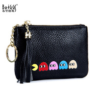 BRIGGS Top Quality Small Tassels Wallet Women Mini Genuine Leather Wallets Fashion Solid Coin Purse Cute Kids Wallet