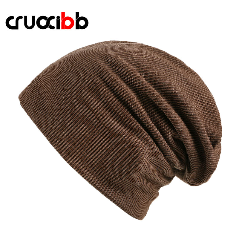 CRUOXIBB Brand Solid Skullies Men Women New Arrivals Beanies Knitted Cap Cotton Layer Style Causal Bonnet Hat Balaclava skullies