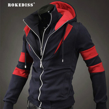 ROKEDISS 2017 Hoodies Mens Hombre Hip Hop Male Brand Hoodie Fashion Stitching zipper Sweatshirt  Men Slim Fit Men Hoodies Z002