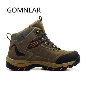 GOMNEAR Men\'s Winter Outdoor Hiking Shoes Leather Hunting Trekking Shoes Waterproof Hiking Boots Brand Warm Sport Sneakers Men