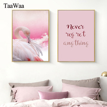 TAAWAA Pink Poster Canvas Minimalist Quotes Flamingo Wall Art Print Nordic Modern Painting For Girl Living Room Home Decoration