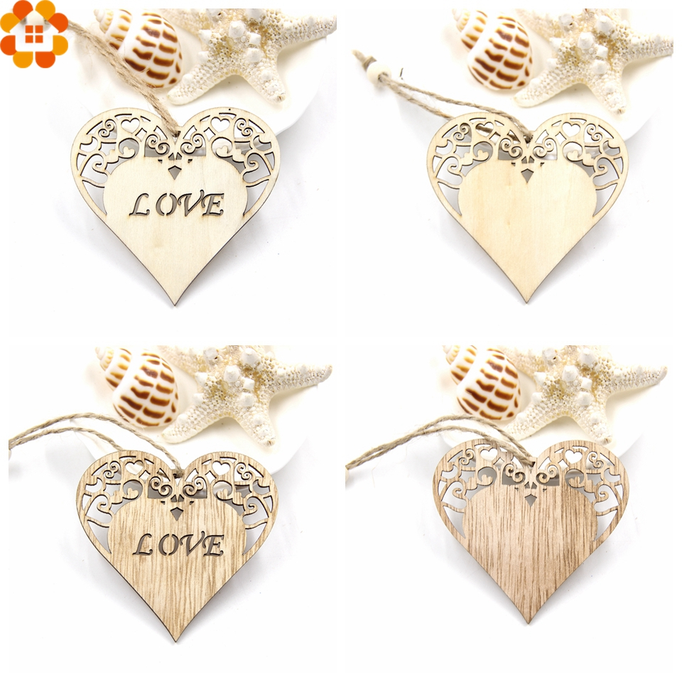 12PCS Love Heart Wooden Pendants Ornaments Wedding Favors DIY Home ...