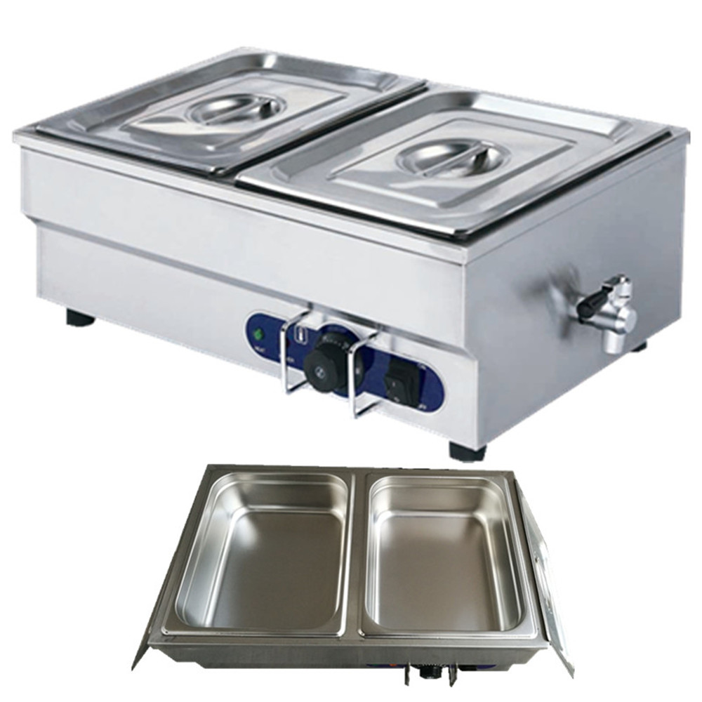 Fast ship to Germany ! stainless steel electric bain marie with 2 pans for commerical kitchen food warmer pkjg dh2x2 stainless steel fast food warmer food warmer fast food equipment food warming cabinet