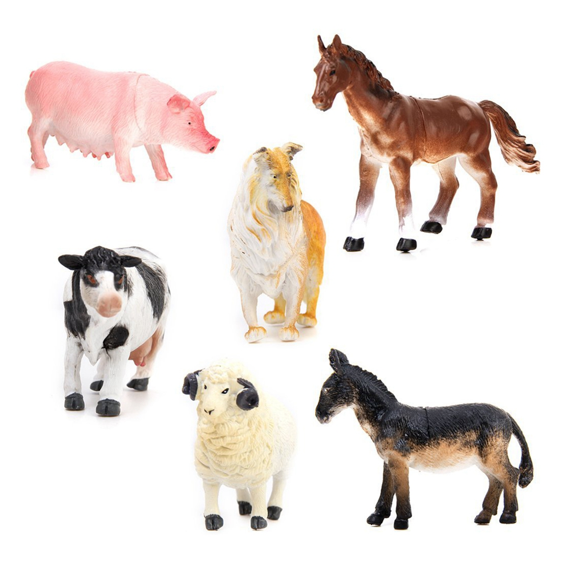 ABWE Best Sale Kids Toy 6 pcs Farm Animal Model Set Pig Dog Cow Sheep Horse Donkey 6pcs simulated farm animal horse sheep