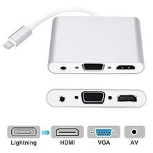 4 in 1 Digital Audio Video HDTV Converter For Lightning to VGA HDMI AV Adapter For iPhone Xs X 8 7 6plus For iPad Air/mini/pro аксессуар hoco ls11 2 in 1 lightning digital audio converter white