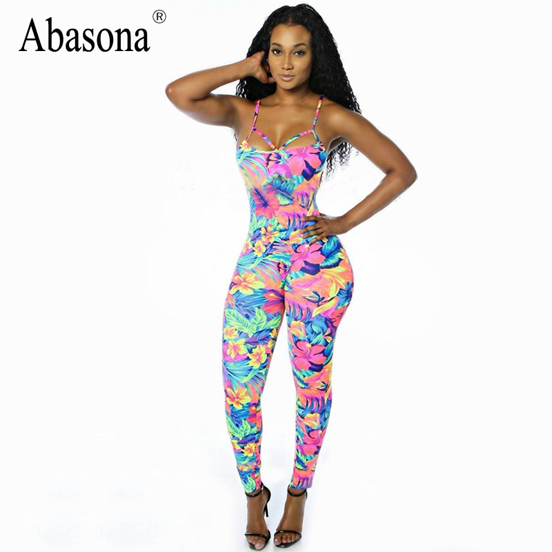Rompers Womens Jumpsuit stretchy tropical floral print