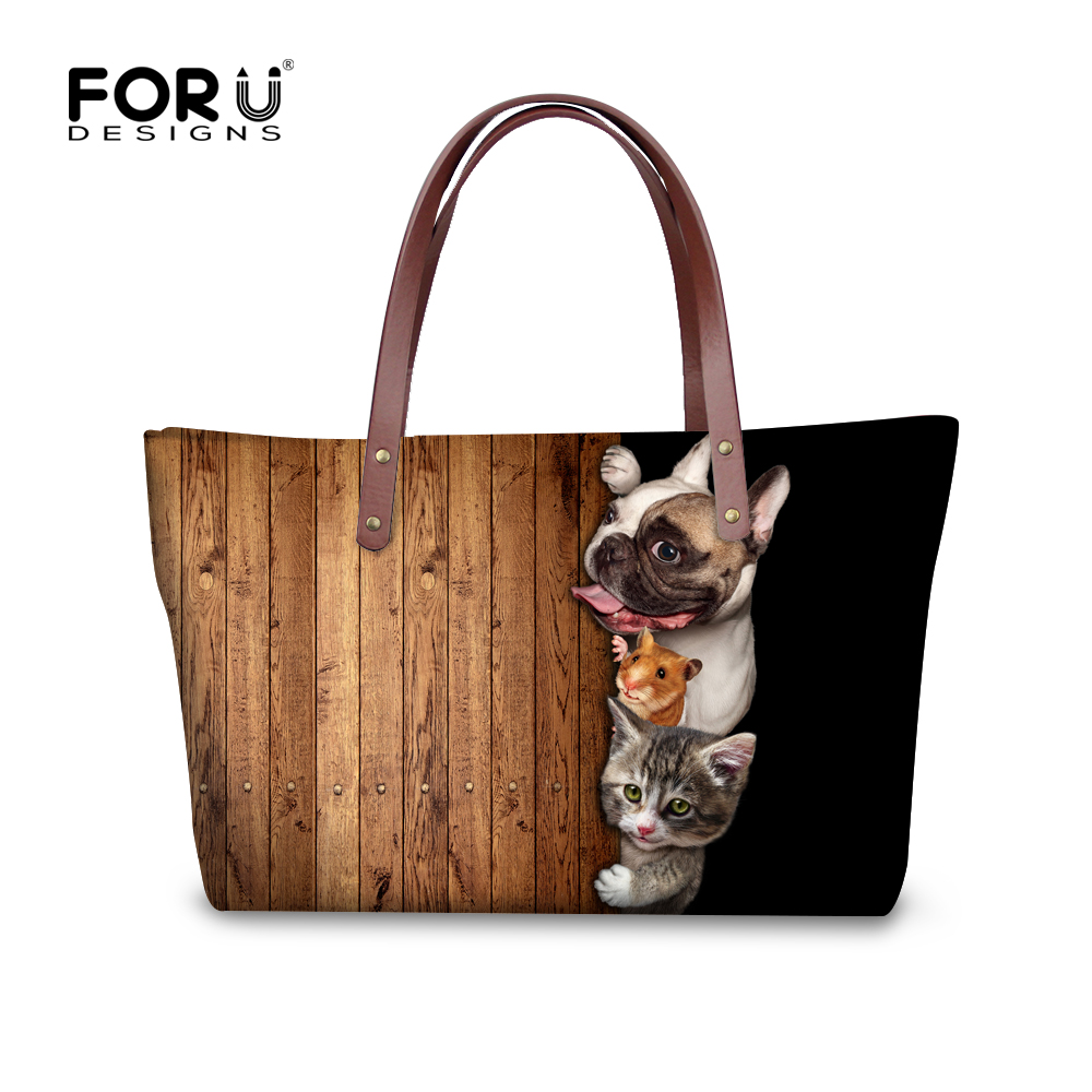 ФОТО High quality waterproof soft handbags for women funny dog cat pattern designer ladies messenge bags large tote bolsa feminina
