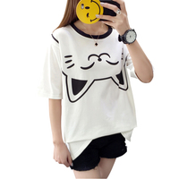 Wit katoen korte mouwen t-shirt meisje zomer losse Koreaanse student cartoon kat print 100 lap t-shirt