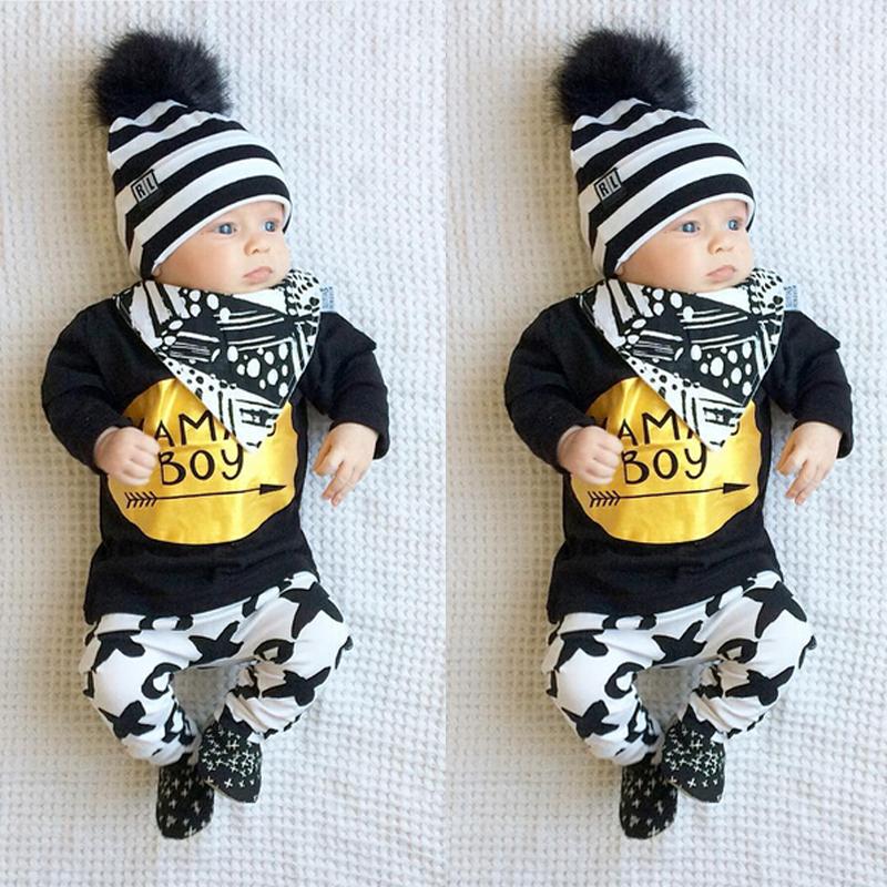 2pcs Newborn Baby Boys Clothes Set Gold Letter MAMAS BOY Outfit T-shirt Pants Kids Autumn Long Sleeve Tops Baby Boy Clothes Set 1