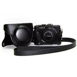 Image 2 - PU skórzane etui torba pokrywa dla Panasonic Lumix DMC LX7 LX7 LX5 LX3 ochronna dolna skrzynka pasek na ramię kamera wideo ciężka torba