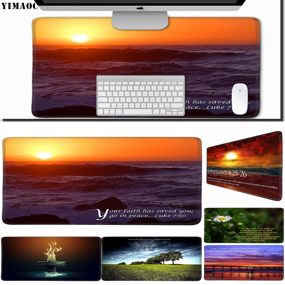 Computer Peripherals Computer & Office Conscientious Yimaoc 30*60 Cm Large Mouse Pad Gamer Mousepad Rubber Gaming Desk Mat With Locking Edge Bible Verse Jesus Christ Christian