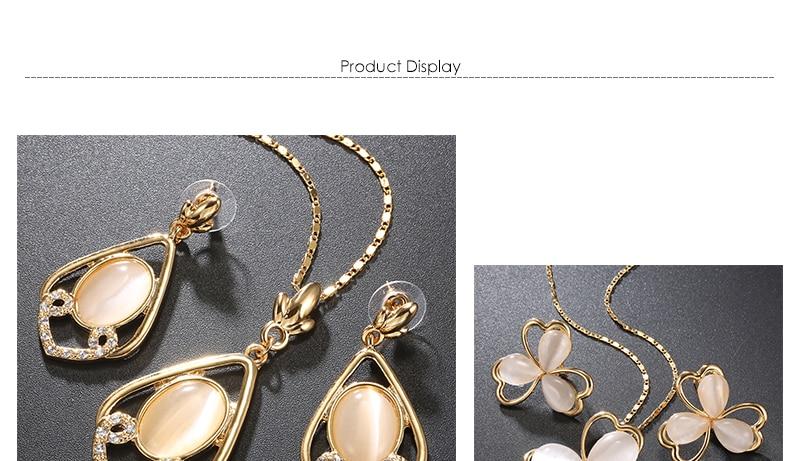Opal Women Wedding Jewelry Set Bohemian Big African Jewelry Sets Dubai Gold Color Fashion Flower Necklace Earrings Set (1)