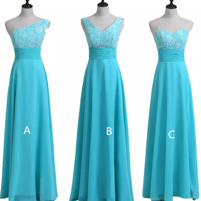 Holievery Lace Chiffon Long   Bridesmaid     Dresses   2019 Turquoise Wedding Party   Dresses   Lace Up Dama De Honor Gowns 100% Real Photo