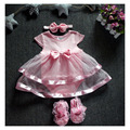 2016 New Baby Cotton Bodysuit Dress Toddler Satin Ropa Bebe Clothes with Flower Headband and Shoes Newborn Photo Props