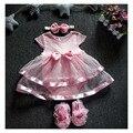 2016 Nuevo Traje de Bebé de Algodón Niño Vestido De Satén Ropa Bebe Ropa con Diadema de Flores y Zapatos Recién Nacido Photo Props