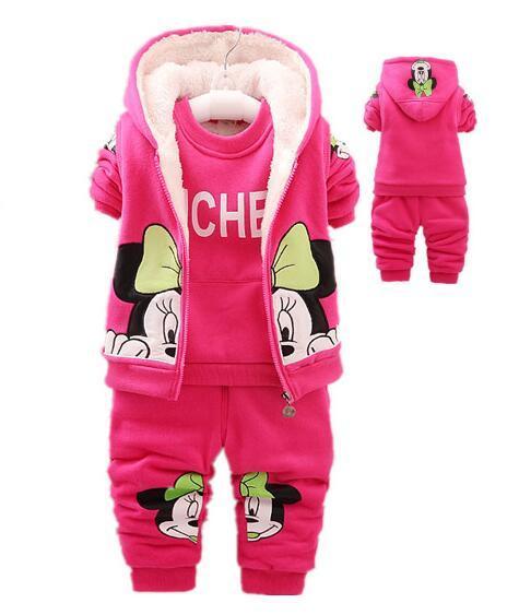 Newest 2016 winter thick  Baby Girls Boys Minnie Mouse Suits Infant/baby Clothes Sets Kids Vest+T Shirt+Pants 3 Pcs baby Sets