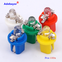 100 X T5 Instrument lamp B8.5 Car LED Indicator Light Dashboard Side Interior Bulb white red blue yellow green free shipping