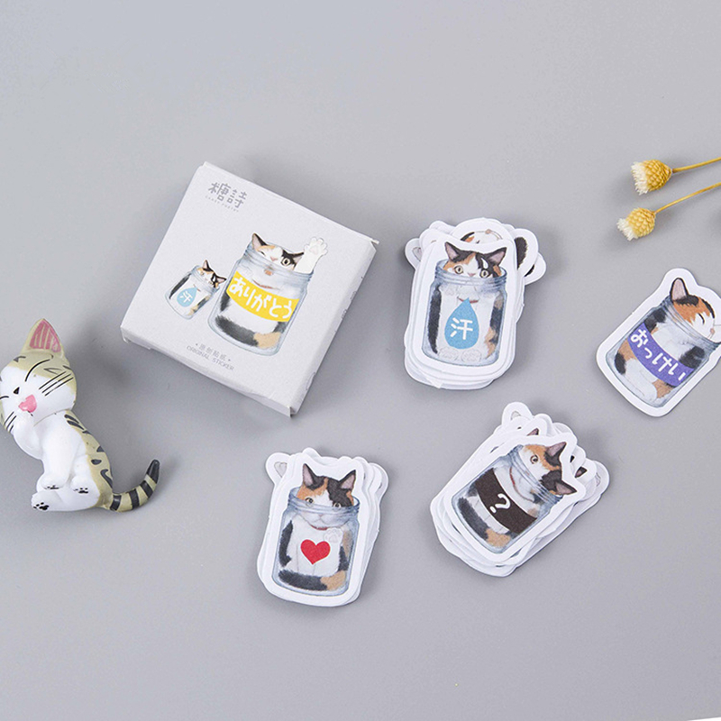 45pcs/set Creative Mystery cat Box Sticker DIY Mail notes/hand accounts/convenient For Car Laptop Bicycle Notebook Stickers