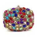 2016 evening clutch Colorful Diamond Women Wedding Bag Oval Shape Crystal Day Clutch Chain Handbags ZD518