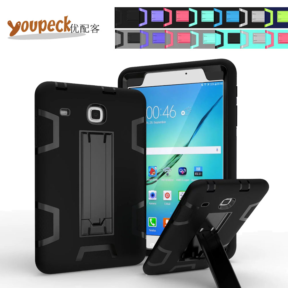 3-Layer Armor Hybrid Shockproof Defender Case for Samsung Galaxy Tab E 8.0 T377 Protective Heavy Duty Rugged Cover w/ Stand